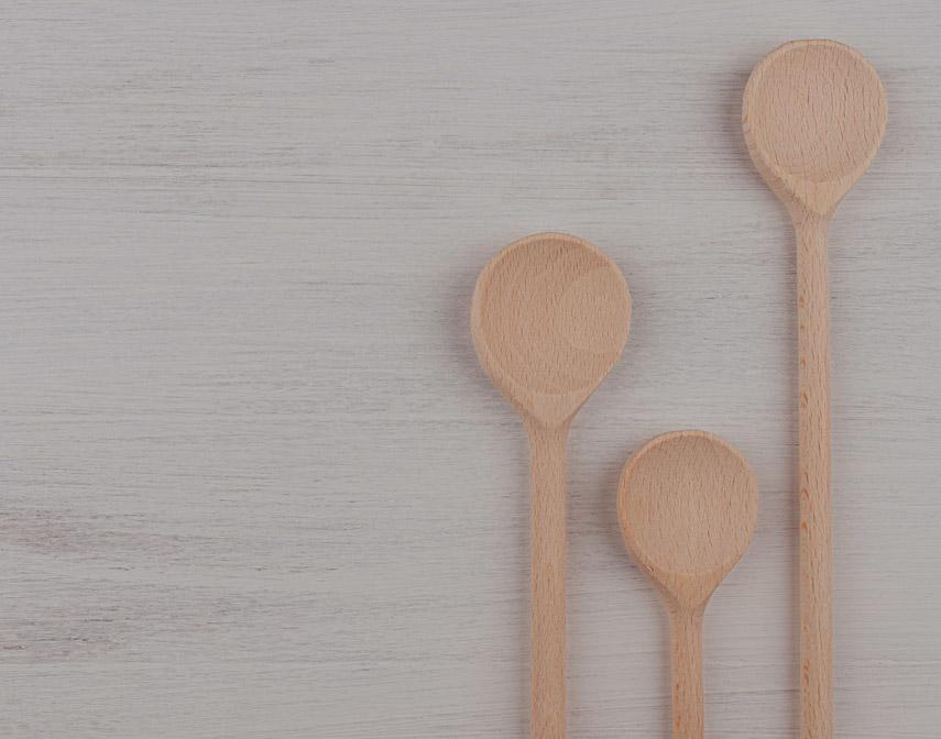 Fondo cucharas de madera